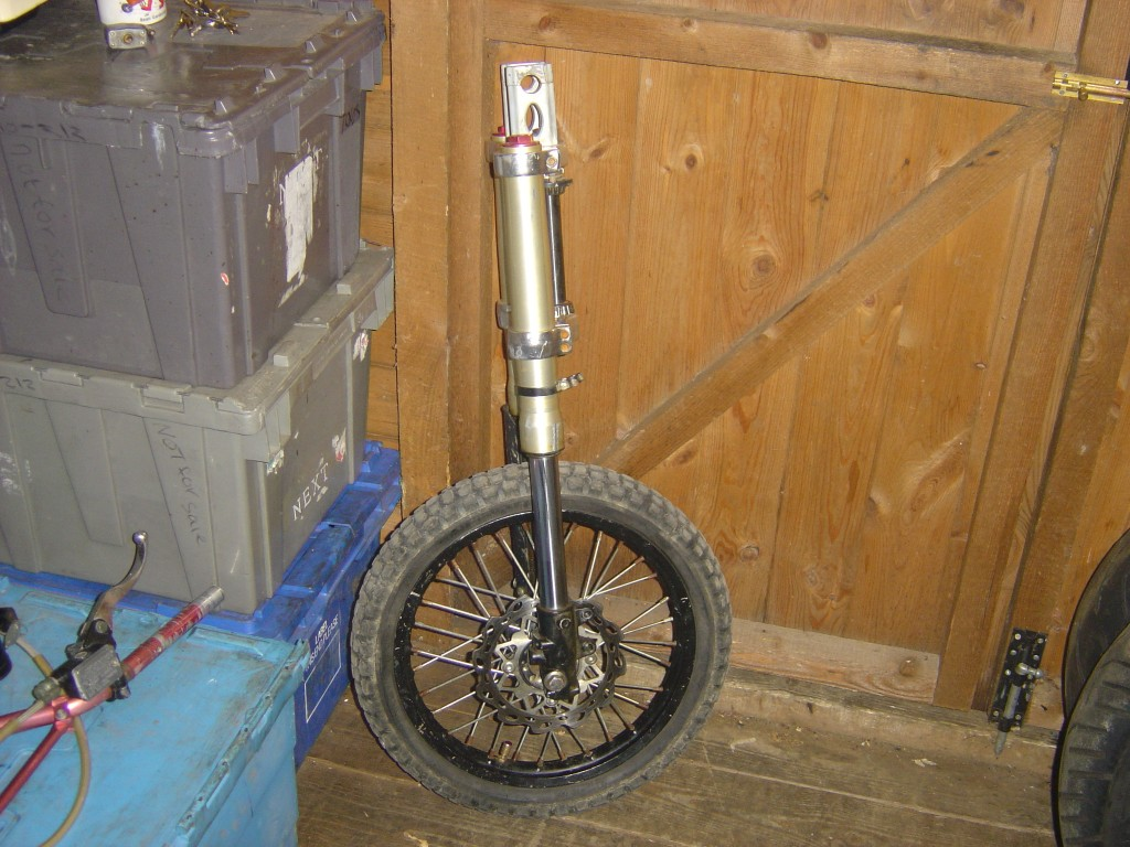 Front forks and wheel from Pit Bike Stomp 110-125-140cc motor bike breaking